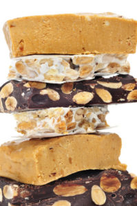 some pieces of different kind o turron, typical Christmas sweet of Spain